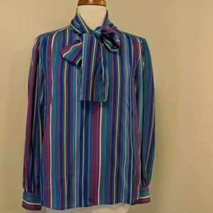 Ysl classic silk multicolor. blouse, ties at neck